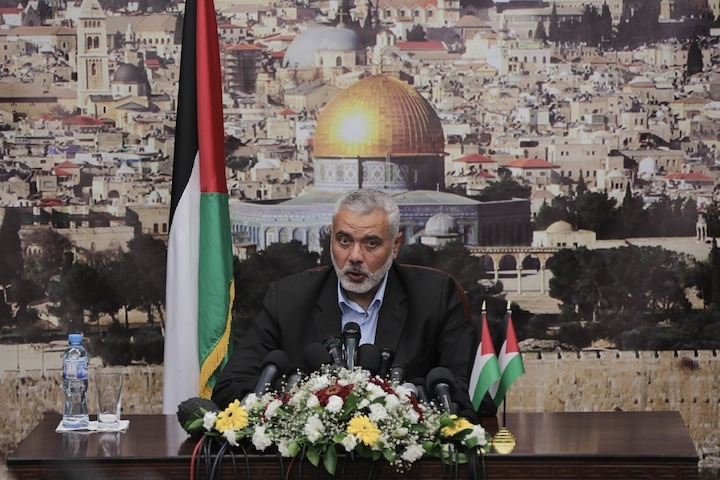 Ismail Haniyeh of Hamas delivers his farewell speech as prime minister of the Hamas-run government in Gaza, a position he stepped down from under the new Palestinian unity agreement, June 2, 2014. (Wissam Nassar/Flash90)