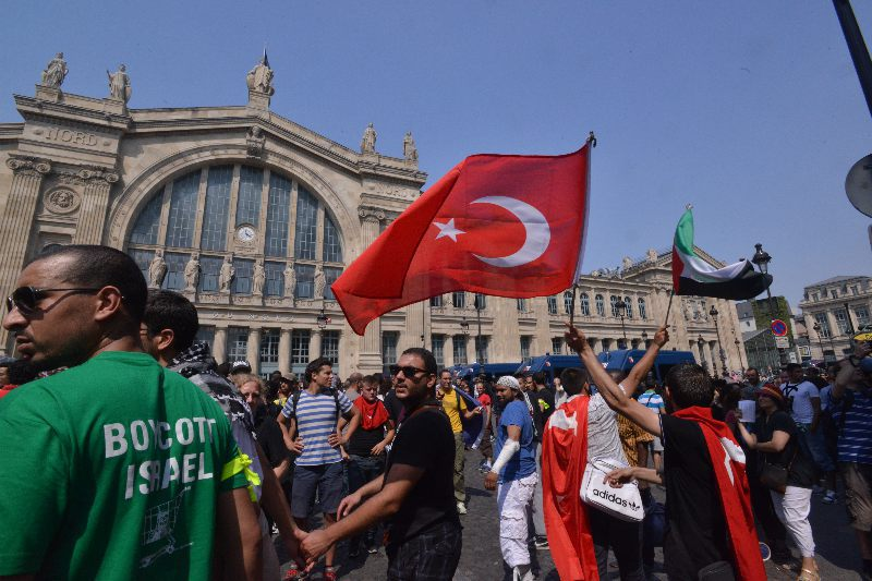 Protesters at an unauthorized anti-Israel rally in fron of Paris' Gare du Nord train station on July 19, 2014. (Cnaan Liphshiz)