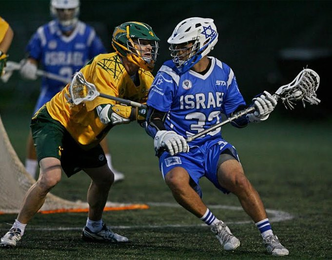 Three goals by Ari Sussman, right, couldn't prevent Israel's quarterfinals loss to Australia in the World Lacrosse Championships, July 16, 2014. (Larry Palumbo)