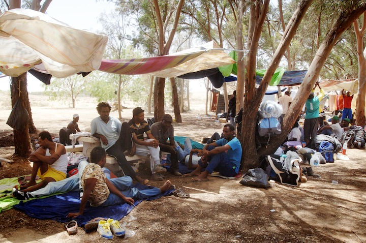 African asylum seekers from the Holot detention center seen in their makeshift tent city on the Israel-Egypt border, where they had marched to protest Israel's detention policies, June 29, 2014. (Flash 90)