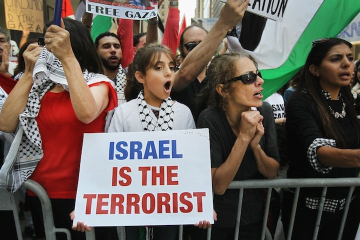 Pro-Palestinian demonstrators protest across the street from a pro-Israel rally in Chicago, Ill., July 28, 2014. (Scott Olson/Getty Images)