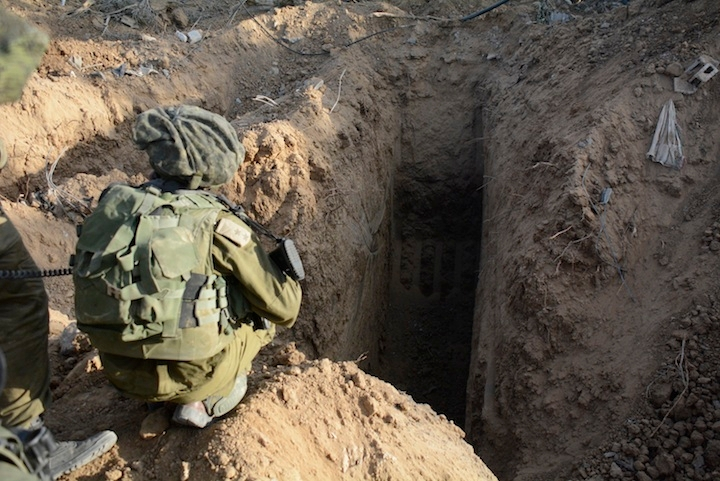 A picture released by the Israeli Defense Forces showing a tunnel that was discovered by soldiers from the Israeli paratroopers in the northern Gaza Strip, July 18, 2014. (IDF Spokesperson/Flash 90)