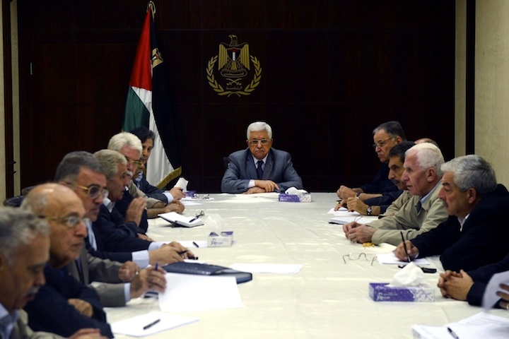 Palestinian Authority President Mahmoud Abbas meets with the central committee of the Fatah movement in Ramallah, West Bank, July 13, 2014. (Thaer Ghanaim/Palestinian Press Office via Getty Images)