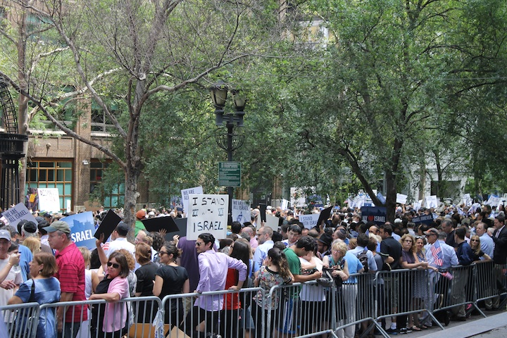 Thousands of Israel supporters attending a pro-Israel rally in New York, July 28, 2014. (Miriam Moster/JTA)
