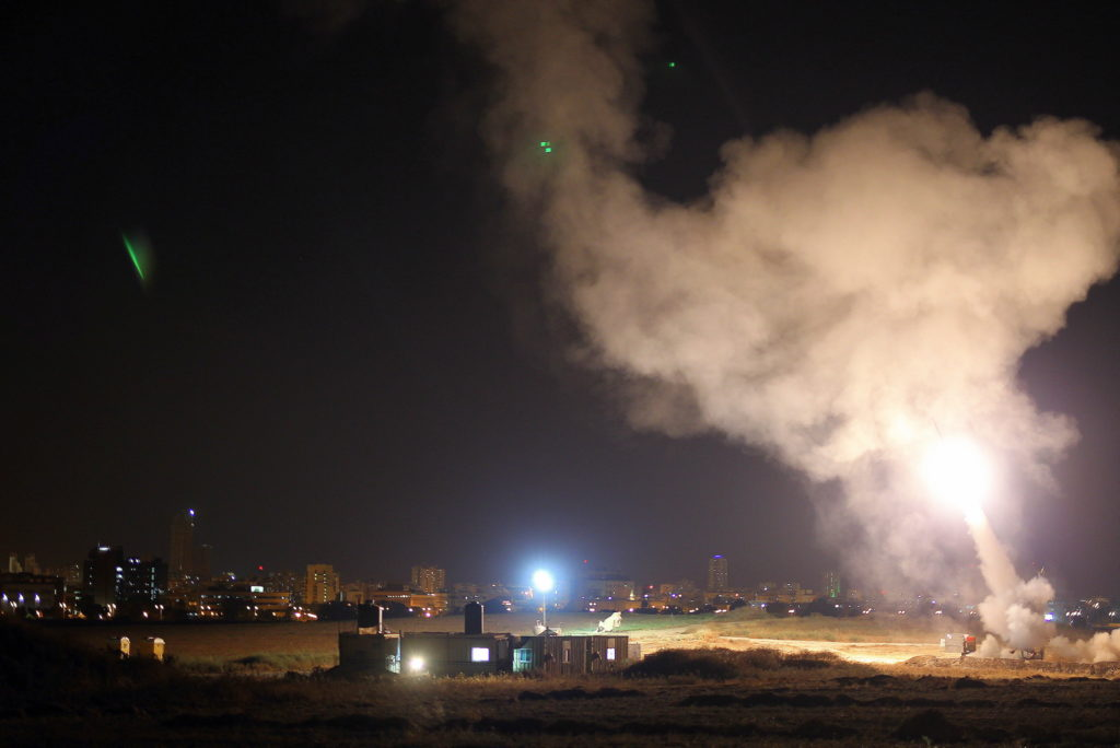 An Iron Dome missile interceptor is launched to shoot down a missile fired toward Israel from Gaza, July 8, 2014. (IDF)