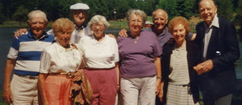 This photograph, dated August 2001, was affixed to a mirror in one of the bedrooms of the derelict bungalow colony. Nat and Sylvia Goldberg are at far left. The three other couples are identified on the back only as Herman & Eleanor, Milton & Norma and Jack & Charlotte.