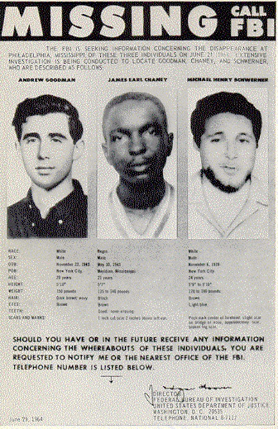The FBI poster circulated before Andrew Goodman, James Chaney and Michael Schwerner's bodies were found. (Wikimedia Commons)