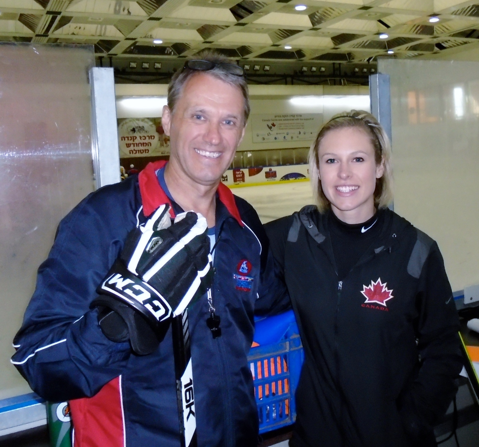 Laurie Boschman, left, and Tessa Bonhomme were members of an eight-person North American delegation who brought a hockey camp to young Israelis at the Canada Centre in Metulla, July 2014. (Courtesy Laurie Boschman)