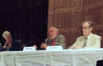 Jewish civil rights volunteers Heather Booth, Mark Levy and Larry Rubin participating in a panel in Jackson, Miss., to mark the 50th anniversary of Freedom Summer, June 2014. (Institute of Southern Jewish Life)