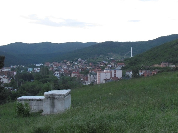 Two tombstones in the Jewish cemetery overlooking Pristina in Kosovo. (Ron Kampeas/JTA)