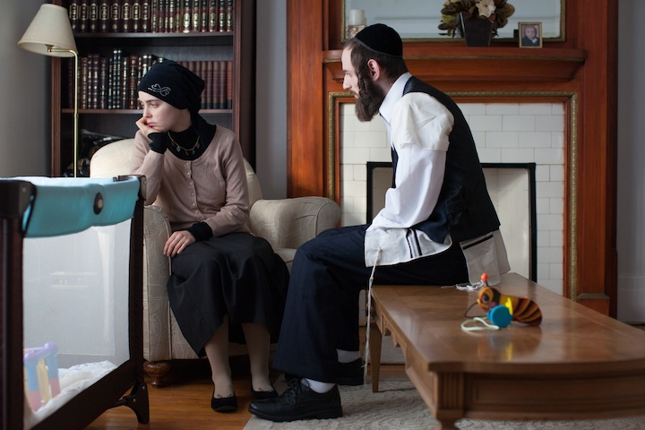"Luzer Twersky, right, consulted on and plays a Hasidic character in the forthcoming ""Felix and Meira"" (Julie Landreville)"