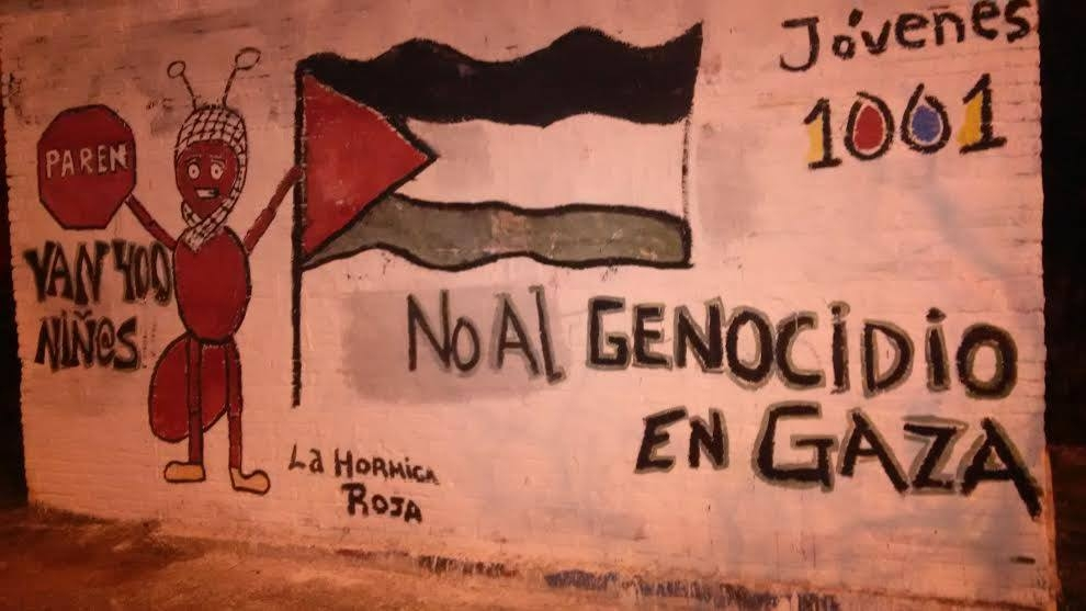 "This mural in the Uruguayan coastal city of Punta del Este was removed. In Spanish it says ""STOP: No to the genocide in Gaza"" and ""400 children"" and is signed ""Red Ant."""