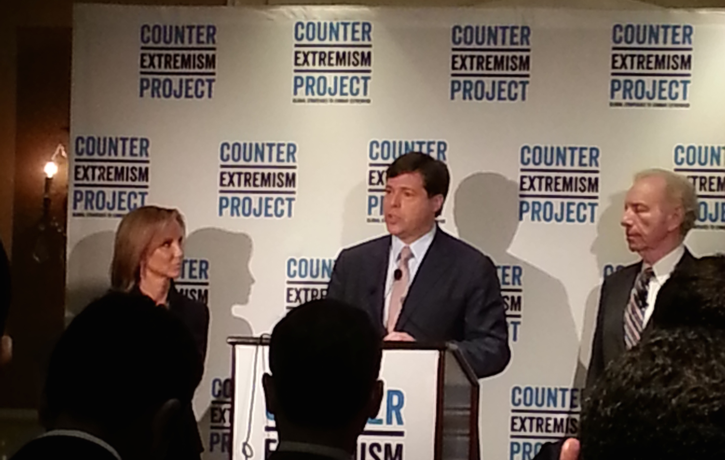 Fran Townshend, Mark Wallace and Joe Lieberman announcing the creation of the Counter Extremism Project in New York, Sept. 22, 2014. (Counter Extremism Project)