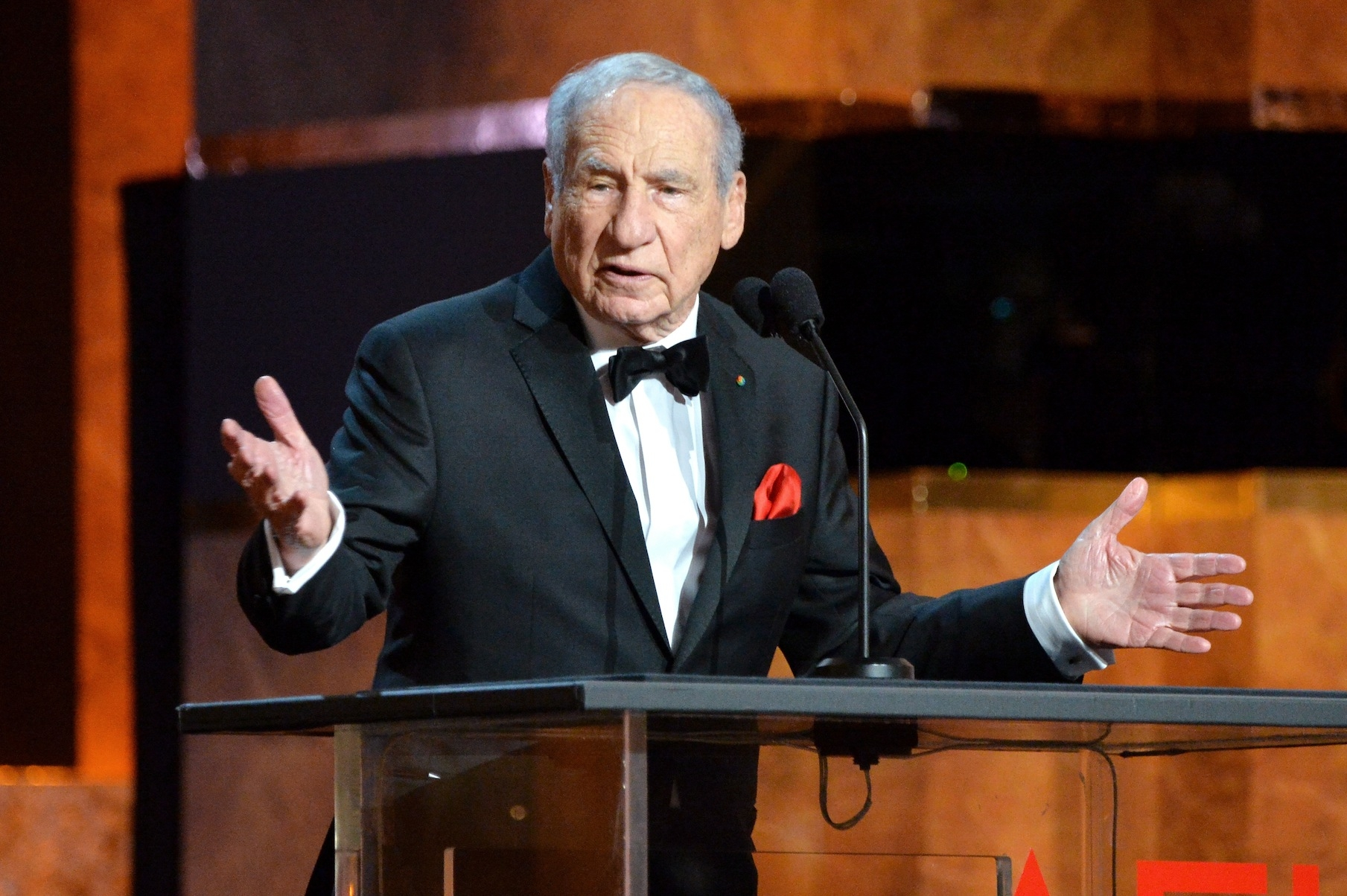 Director Mel Brooks speaks onstage at the 2014 AFI Life Achievement Award: A Tribute to Jane Fonda at the Dolby Theatre, June 5, 2014 in Hollywood, Calif. (Frazer Harrison/Getty Images for AFI)