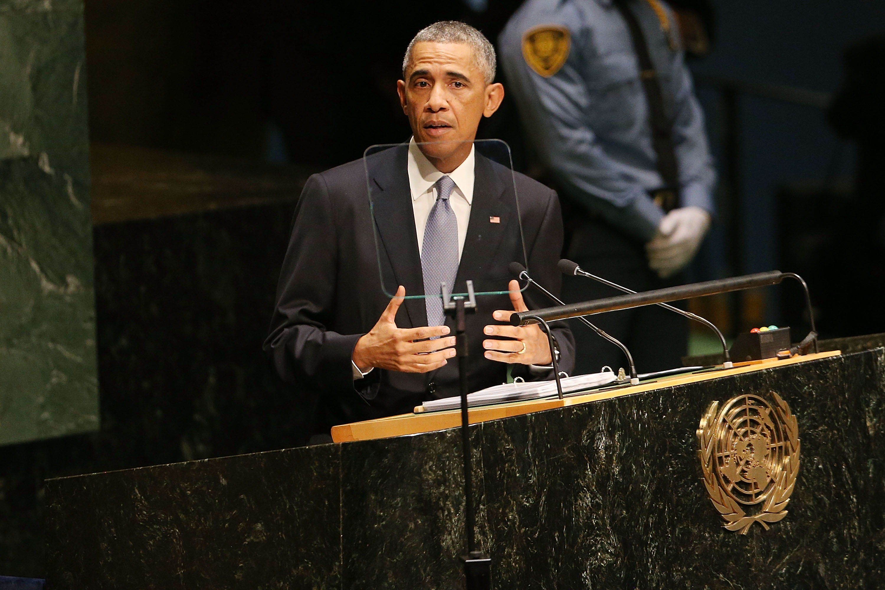 President Obama speaks at the 69th Session of the United Nations General Assembly at United Nations Headquarters, Sept. 24, 2014 in New York City. (Spencer Platt/Getty Images)