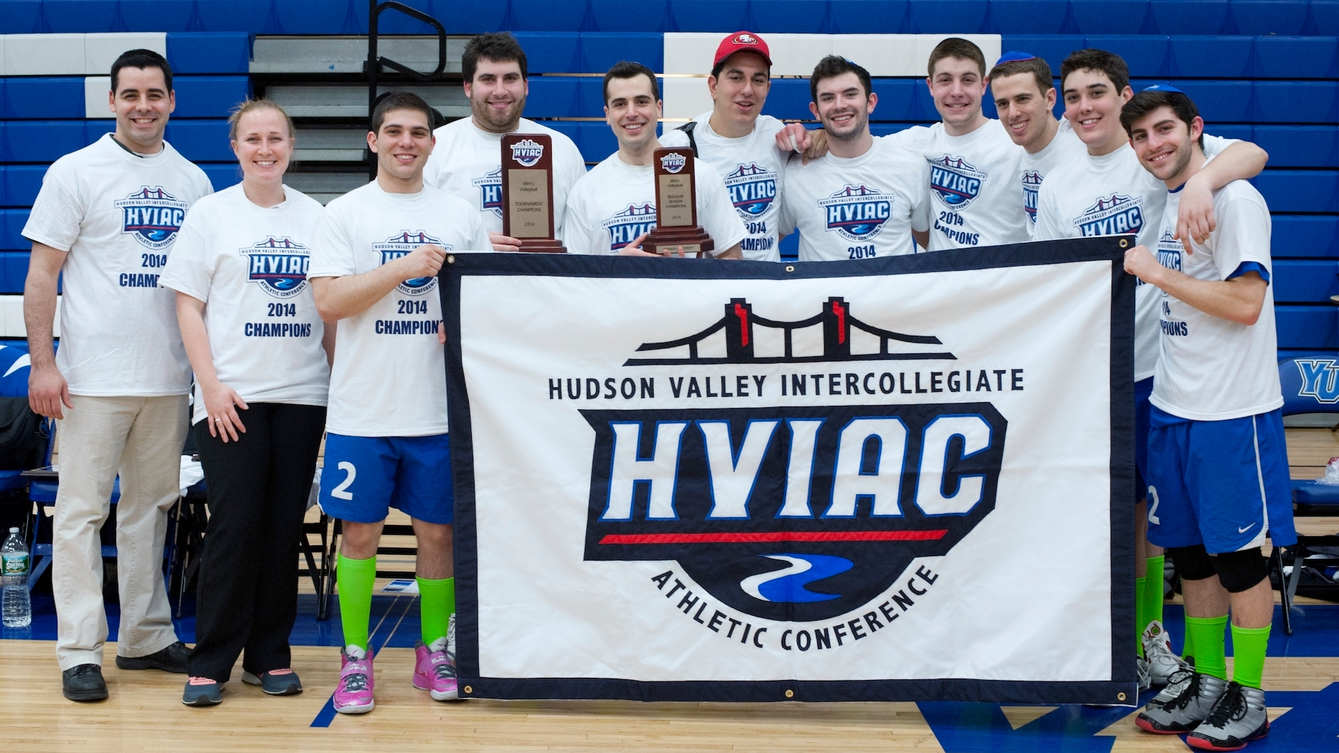 Jacqui Dauphinais, second from left, was an assistant coach last season for the the Yeshiva University men's volleyball team that won its conference championship. (Adena Stevens/Yeshiva University)