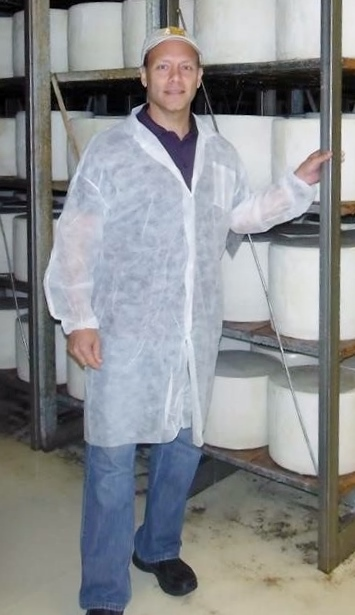 Brent Delman visiting the cheesemaking facility in Sardinia, Italy, that prepares the kosher Pecorino Romano type he sells in the United States. (Courtesy Brent Delman)