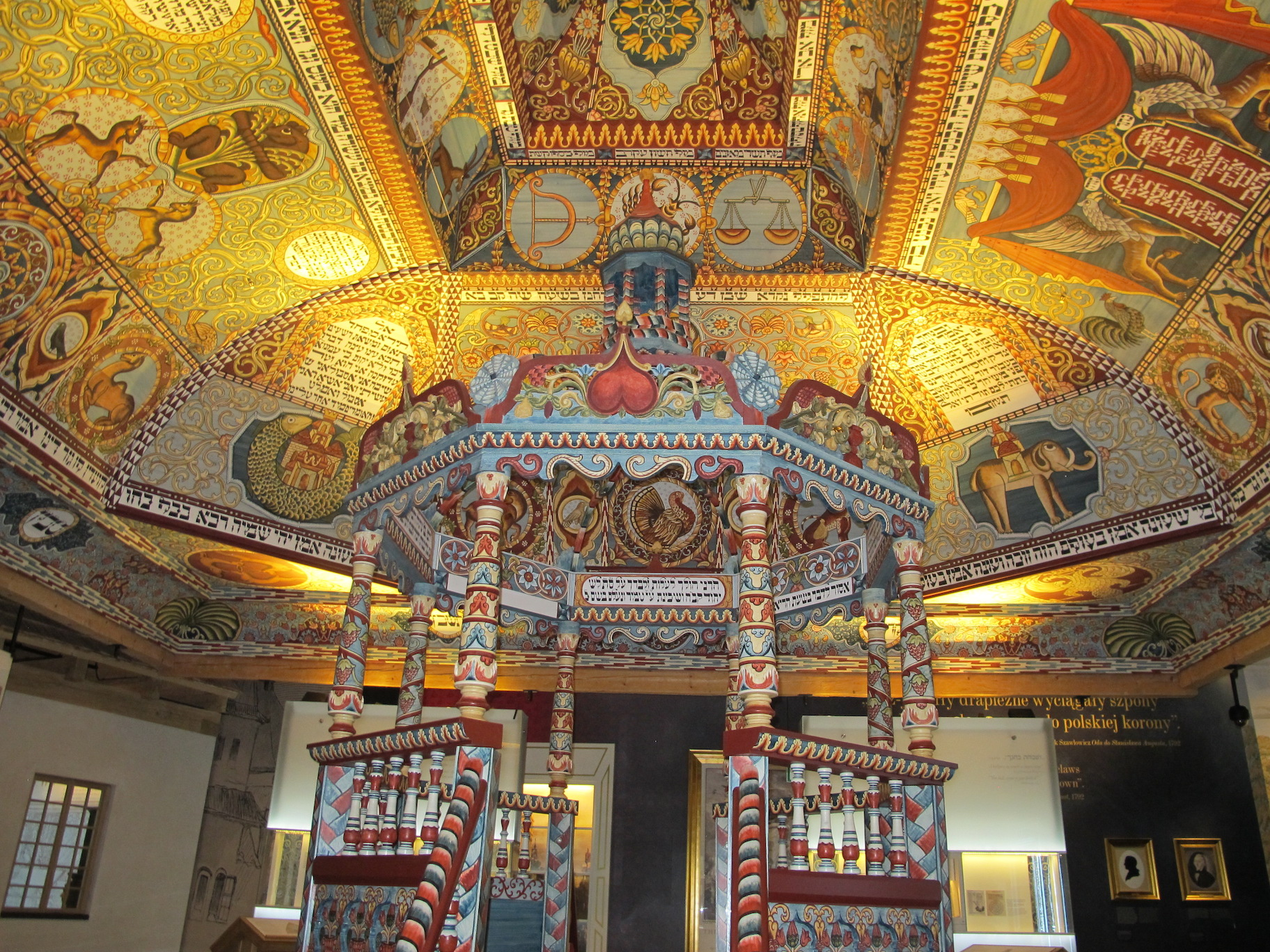 The reconstructed painted ceiling of the wooden synagogue of Gwozdziec, a key installation in the core exhibit of the POLIN Museum of the History of Polish Jews. (Ruth Ellen Gruber)