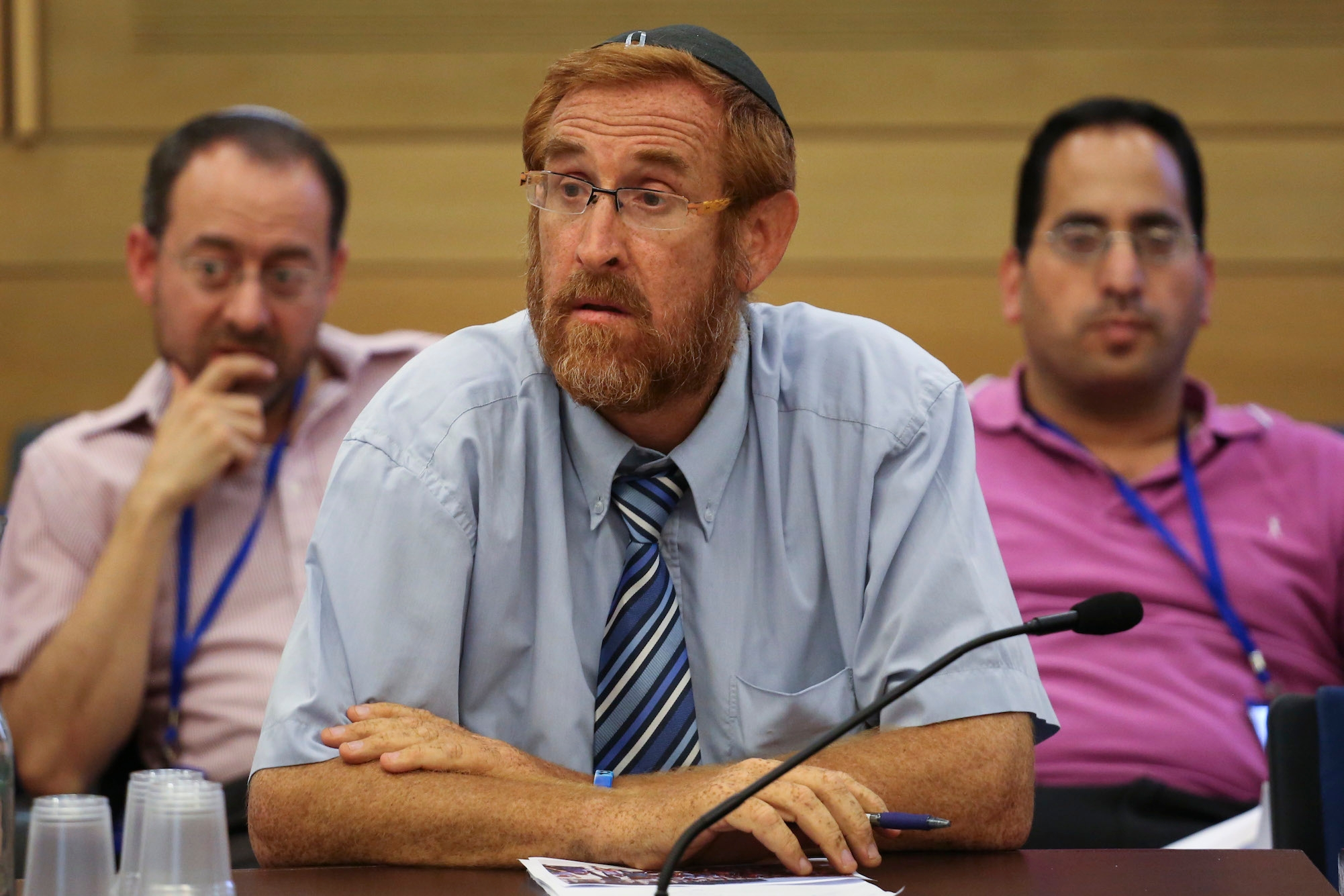 Right-wing activist, Yehuda Glick, seen during the Interior Affairs Committee meeting discussing visiting rules to the Dome of the Rock or Temple Mount compound, at the Knesset, on June 23, 2014. (Hadas Parush/Flash90)