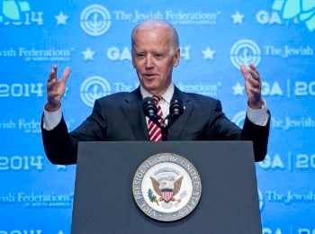 Vice President Joe Biden addresses the 2014 Jewish Federations of North America General Assembly at National Harbor, Maryland on Monday, Nov. 10, 2014. (Ron Sachs)