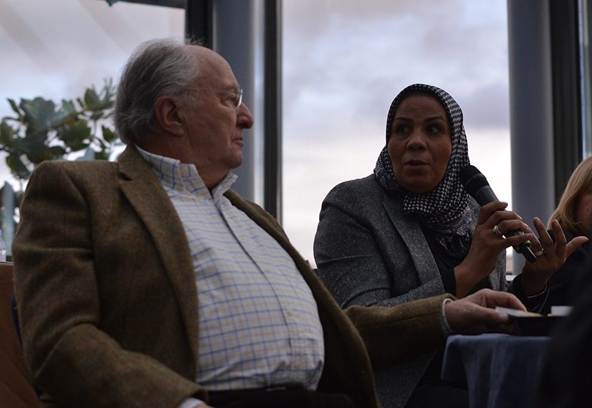 Latifa Ibn Ziaten and CRIF President Roger Cukierman at the CRIF national convention in Paris, Nov. 16, 2014. (Cnaan Liphshiz)