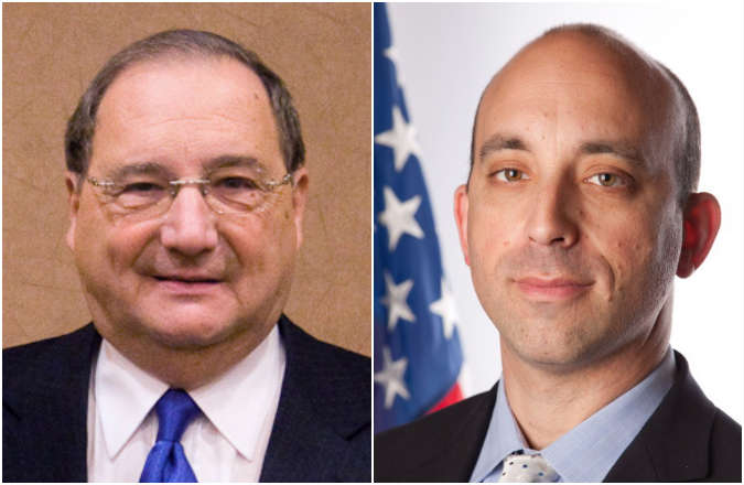 Jonathan Greenblatt, right, will succeed Abraham Foxman, left,  as national director of the Anti-Defamation League.