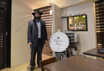 Chabad's emissary to Tokyo, Rabbi Mendy Sudakevitch, at Chana's Place, the city's only certified kosher restaurant. (Cnaan Liphshiz)