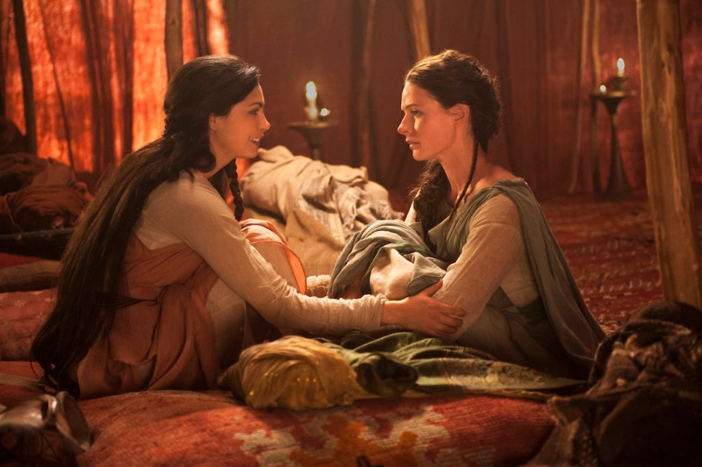 "(L to R) Morena Baccarin (""Rachel"") and Rebecca Ferguson (""Dinah"") star in the all-new Lifetime miniseries, ""The Red Tent."" (Joey L./Lifetime)"