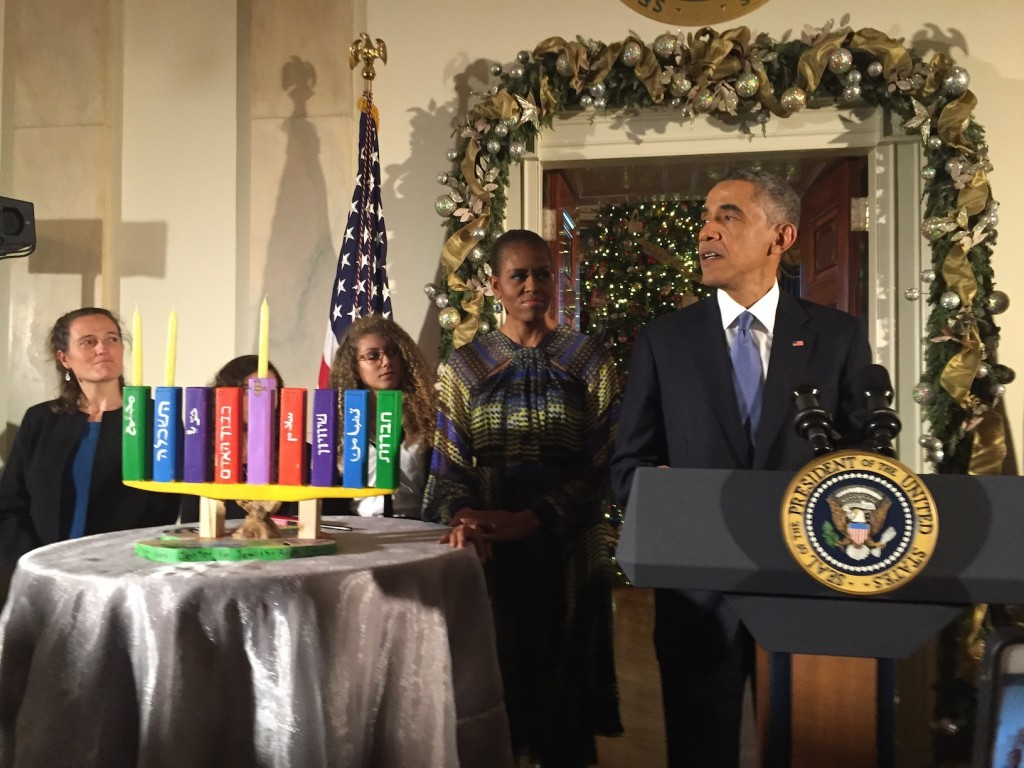 President Obama speaks at the first of two White House Hanukkah parties in Washington, Dec. 17, 2014.  (Steve Sheffey)