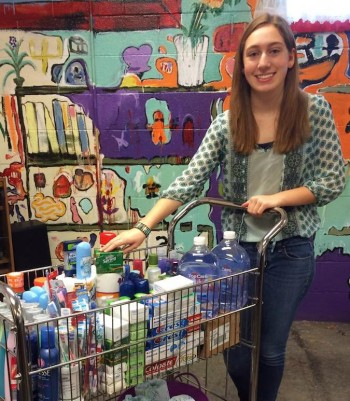 Adena Rochelson with toiletries she collected for local shelters and food pantries. (Courtesy of Adena Rochelson)