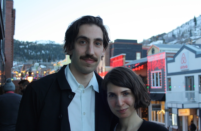 "Ariel Kleiman and Sarah Cyngler in Park City, Utah. ""Partisan"", the feature that Kleiman directed, and co-wrote together with Cyngler, premiered at the Sundance Film Festival. (Anthony Weiss/JTA)"