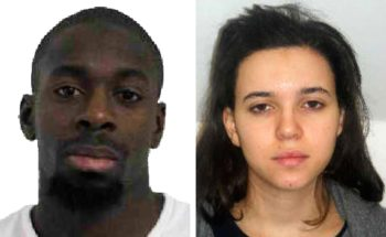 Pictured in this composite of handout photos provided by the Direction Centrale de la Police Judiciaire on Jan. 9, 2015 are Amedy Coulibaly, aged 32, (L) who is wanted in connection with the shooting of a French policewoman yesterday and suspected as being involved in the ongoing hostage situation at a Kosher store in the Porte de Vincennes area of Paris, and known associate Hayat Boumeddiene, aged 26. (Direction centrale de la Police judiciaire via Getty Images)
