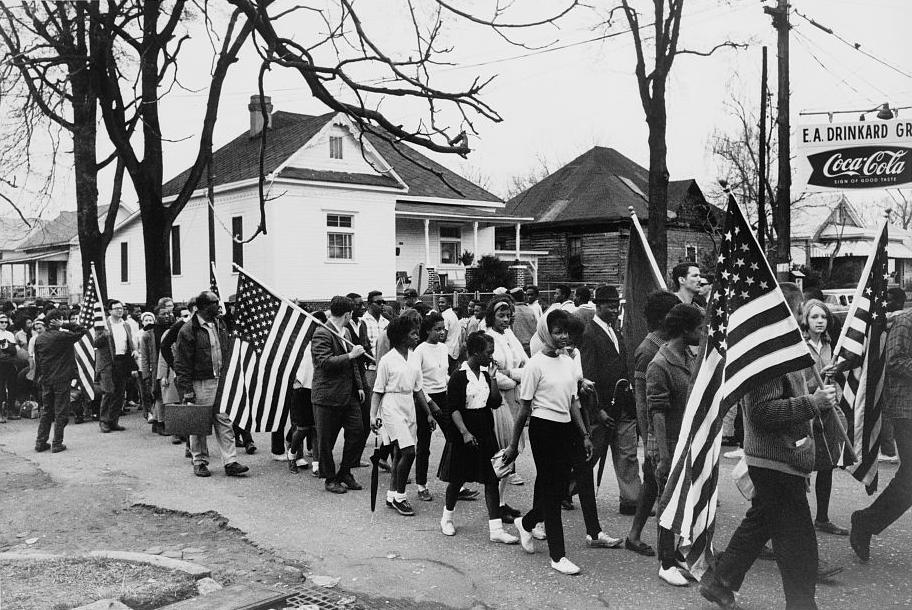 A scene from one of the Selma-to-Montgomery, Ala., marches in 1965. (Wikimedia Commons)