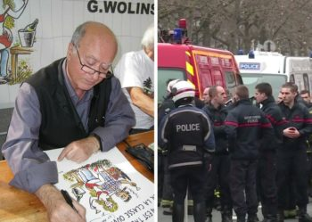 Celebrated French Jewish cartoonist George Wolinski, left, was killed in an attack on satirical newspaper Charlie Hebdo on Jan. 7; on right, police officers respond to the shooting (Wikimedia Commons and Youtube).