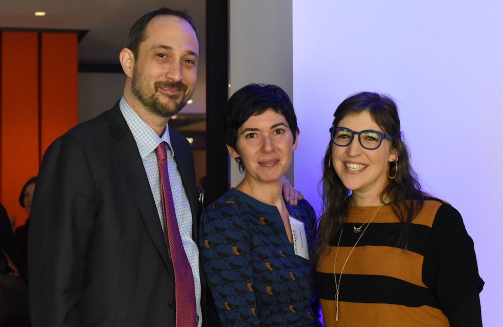 70 Faces Media CEO Ami Eden, left, Editorial Director Deborah Kolben and actress Mayim Bialik celebrating the merger of JTA and My Jewish Learning. (Cara Paiuk)
