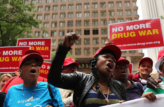 Marijuana legalization advocates and members of community groups attend a rally against marijuana arrests on June 13, 2012 in New York City. (Spencer Platt/Getty Images)
