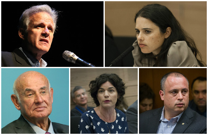 Clockwise, from top left, Michael Oren, Ayelet Shaked,