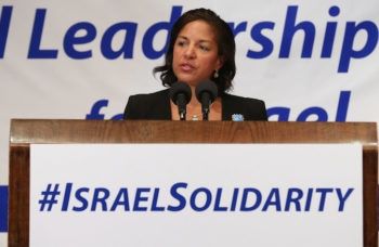 "U.S. National Security Advisor Susan Rice, here addressing Jewish leaders during the National Leadership Assembly for Israel in July 2014, called Netanyahu's upcoming speech ""destructive."" (Chip Somodevilla/Getty Images)"