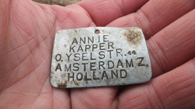 A metal plate bearing the name of 13-year-old Annie Kapper from Amsterdam was found at the Sobibor death camp in eastern Poland.