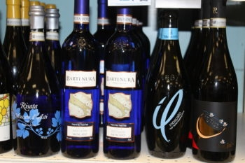 At Wells Discount Liquors in Towson, Md., Bartenura is displayed not in the kosher section, but with non-kosher Moscatos. (Hillel Kuttler)