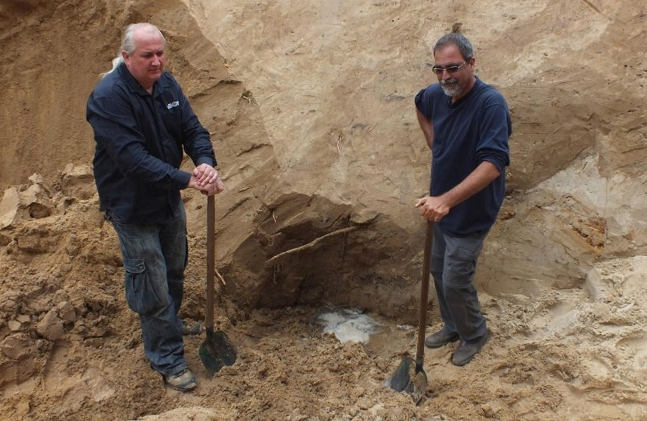 Israeli archaeologist Yoram Haimi, right, has been warning of threats to important historical artifacts at the Sobibor death camp in Poland.