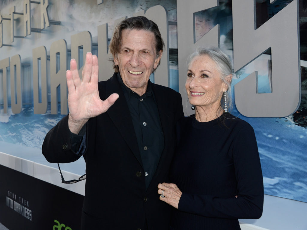 "Leonard Nimoy (L) and wife Susan Bay arrive at the premiere of Paramount Pictures' ""Star Trek Into Darkness"" on May 14, 2013 in Hollywood. (Kevin Winter/Getty Images for Paramount Pictures)"