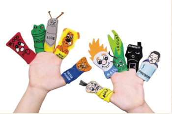 Passover toys, such as these 10 Plagues finger puppets, can help engage children in the seder. (Traditions Jewish Gifts)