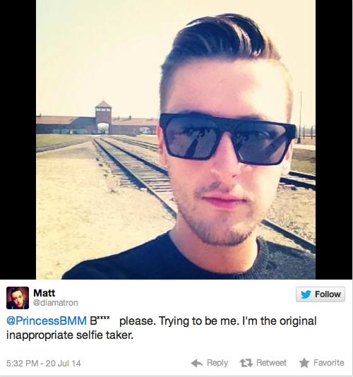 Twitter users like @diamatron, seen taking a selfie at a concentration camp in Poland, have provoked widespread criticism.
