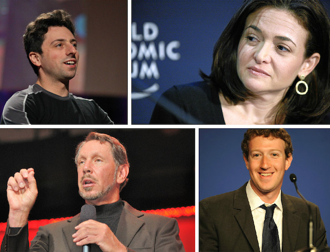 Forbes' annual list of billionaires features several new and familiar Jewish faces. Clockwise from top left: Sergey Brin, Sheryl Sandberg, Larry Ellison, Mark Zuckerberg. (Wikimedia Commons)