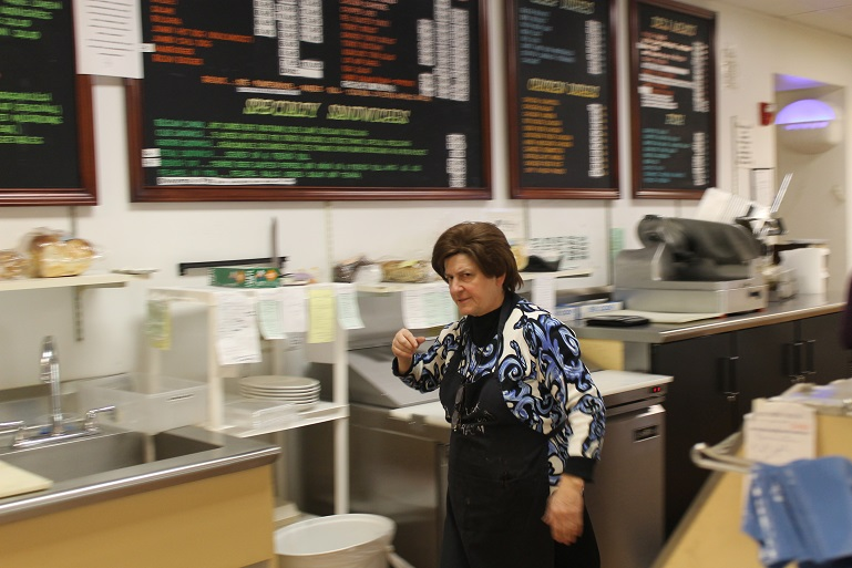 Marcy Schreiber says the East Side Kosher Deli has survived only because it combines a full-service grocery with a sit-down restaurant. (Uriel Heilman)