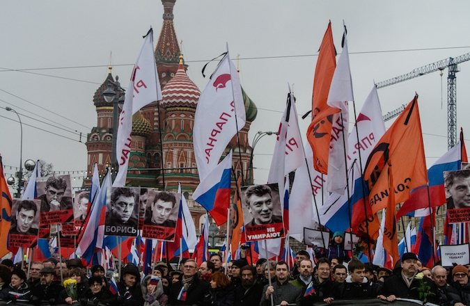 Tens of thousands marched in Moscow on Sunday to protest the murder of Boris Nemtsov. (Alexander Aksakov/Getty Images)
