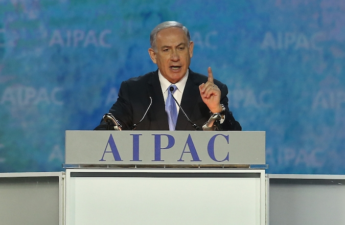 Israeli Prime Minister Benjamin Netanyahu speaking at the AIPAC 2015 Policy Conference a day before his scheduled speech to Congress. (Mark Wilson/Getty Images)