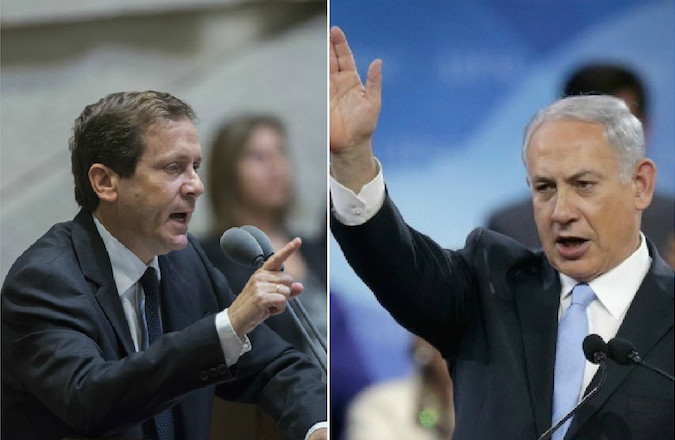 Israeli Prime Minister Benjamin Netanyahu, right, and Zionist Union's Isaac Herzog emerged in a virtual dead heat after Israeli elections Tuesday.