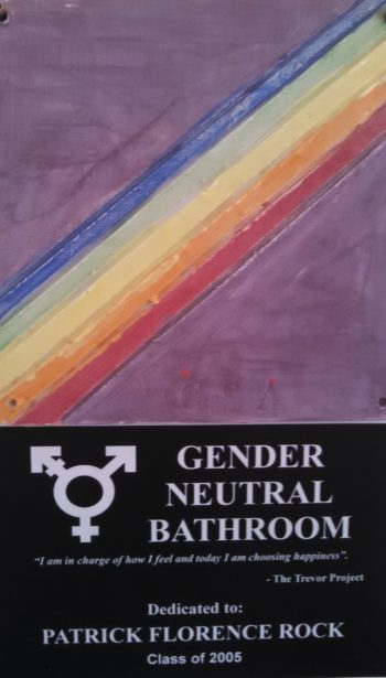 A plaque identifying the new gender-neutral bathroom at Jack M. Barrack Hebrew Academy near Philadelphia.